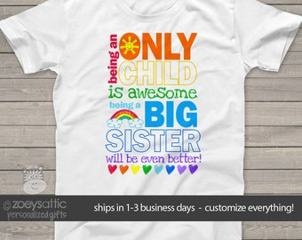 Only child big sister to be pregnancy announcement Tshirt MOCH-004