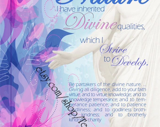 "Printable - 3 sizes! LDS Young Women Personal Progress Values ""Divine Nature"" Floral Christ Art 2014 Instant Download Digital Files"