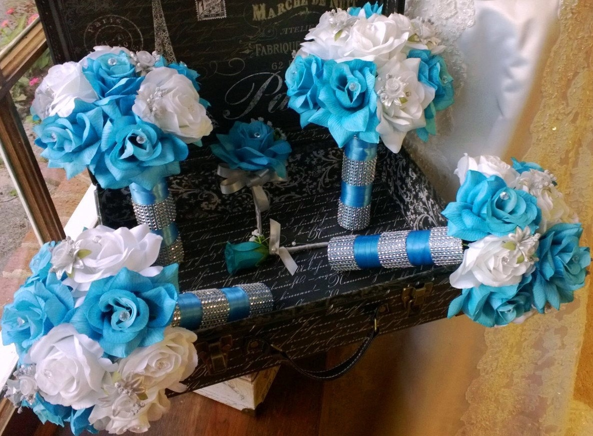 17 Piece Malibu Blue White Silver Wedding Flower Set Bridal