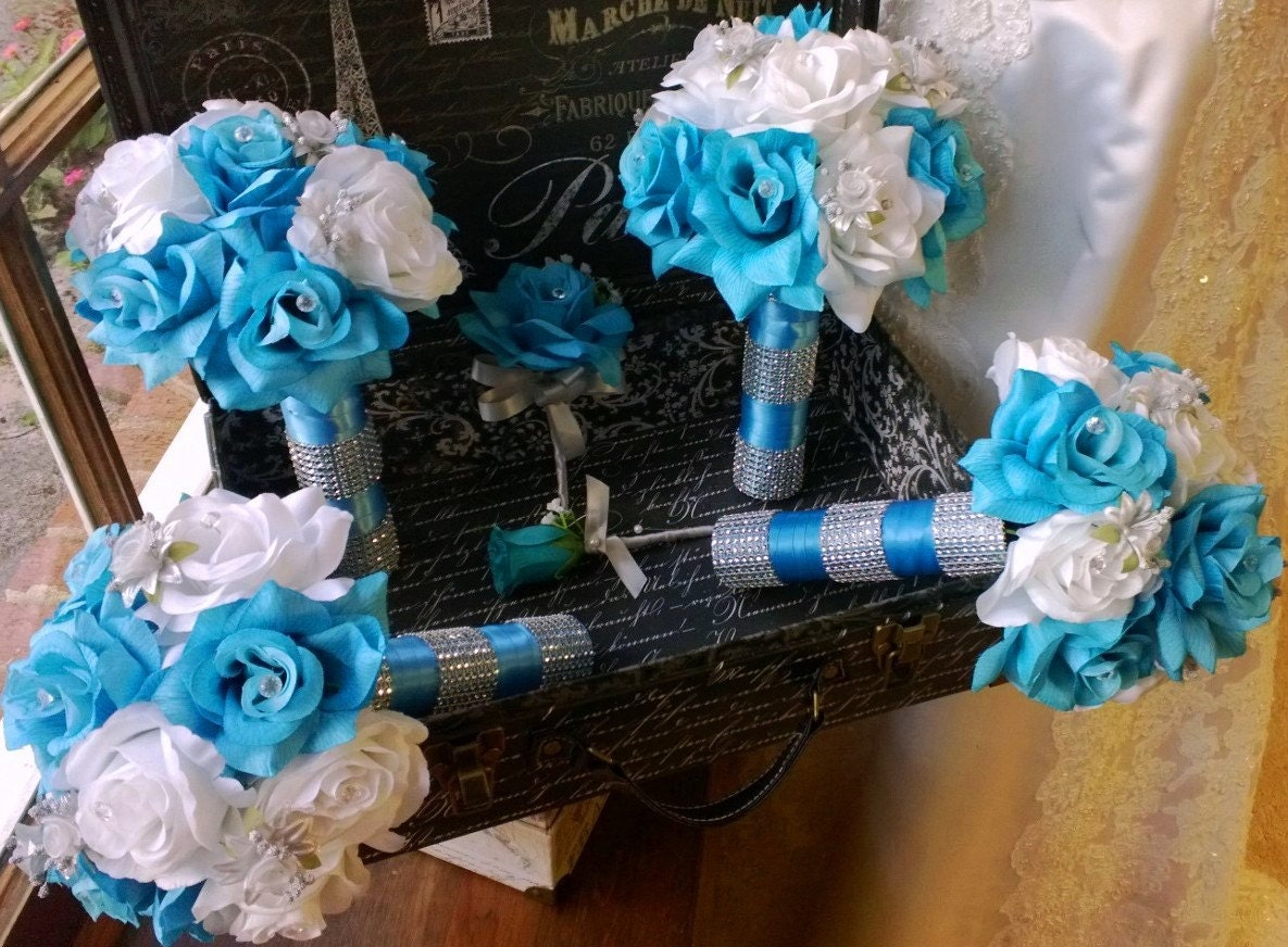 Blue and Silver Wedding Flowers