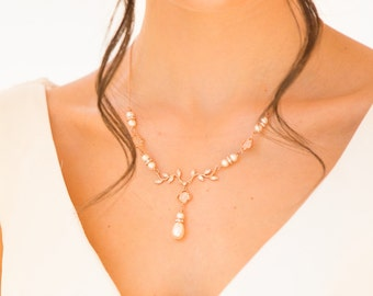 Leaf vine necklace, rose gold, silver, with backdrop chain, earrings, Swarovski pearl, crystal, bridal, blush, cream, low back, brides,