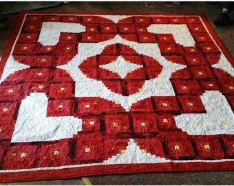 Wedding Quilt Pattern   Wedding / Valentine / Love / Heart / Log Cabin Quilt