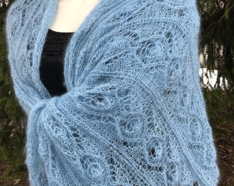 Light blue kidsilk scarf Evening wrap Lace mohair shawl  with leaves Handknitted Wedding wrap  lightweight silkmohair shawl lace Stola