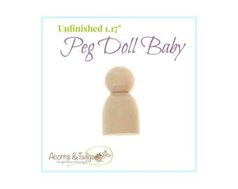 Wooden Baby Peg Doll, Unfinished, Waldorf Toys, Wood Craft Supply, Montessori Supplies, DIY Toddler Peg Doll