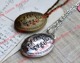 Large Cherry Blossom Oval Lockets Pendant Necklace