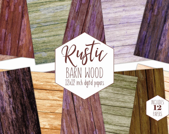 RUSTIC WOOD Digital Paper Pack Red Barn Backgrounds Painted Wood Grain Scrapbook Papers Brown Wood Plank Printable Textures Commercial Use