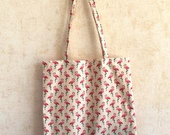 Tote Bag printed Flamingo Pink - cotton bag