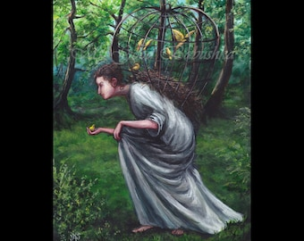 I Catch the Birds, I am the Crafty Thing, Original Painting, Fairy Tale, Folk Tale, Forest, Canary, Bird Cage, Surreal, Trees, Birds, Nest