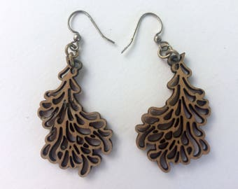 Wood earrings - drop earrings - laser cut - lightweight