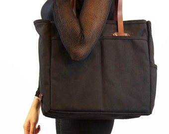 Canvas Carryall in Black, Tote, Duck Canvas Bag, Shoulder Bag, Market Tote, Canvas Carryall, Leather, For Him, For Her,  Leather handles