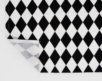 Diamond Fabric, Black and White Fabric, Geometric Cotton Fabric - Fabric By the Yard 84368
