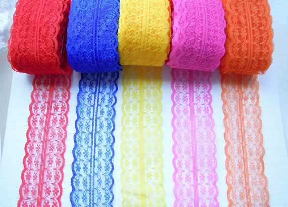 2.5 yds Burlap lace ribbon 45 mm - Bright color wide lace for bows and event decoration -  Wide lace ribbon - Burlap lace.