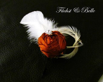 Rustic Orange Bridal Fascinator, Wedding Headpiece - Silk rosette with Ivory goose feathers and rhinestone