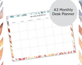 A3 Monthly Desk Planner