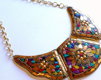 Bold Inlaid Brass Bib Solid Brass Chain Turquoise Pink Gold  Statement Necklace, NLO1699 Mosaic Wings