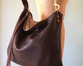 Brown leather bag, dark brown leather handbag, leather messenger bag, chocolate brown leather purse