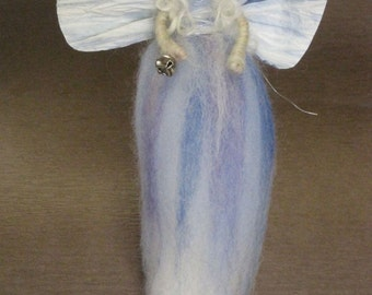 Needle Felted Angel, Angel Ornament, Waldorf Winter Fairy, Nativity Set, Winter Nature Table, Christmas, Blue, Blonde, Paper Wings and Bell