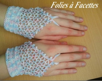 pair of romantic pastel cotton crochet mittens