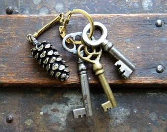 Large Pine Cone Keychain- Bronze or Silver