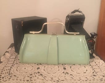 Vintage Clutch, Purse,  Patent Leather Bag, Retro Vintage