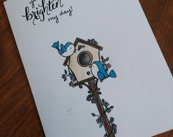 Spring bird greeting card