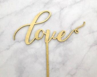 Love Cake Topper, Love Wedding Cake Topper, Engagement Cake Topper, Bridal Shower Cake Topper, Calligraphy Cake Topper
