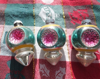 Indent Christmas Ornaments - Three Indent Ornaments, Shiny Brite, Made in USA