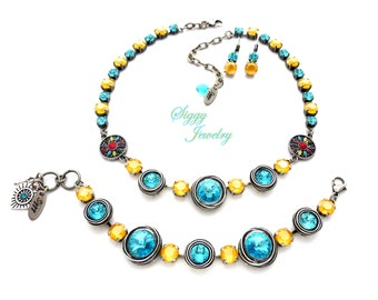 Swarovski® Crystal Necklace, Mixed Size Light Turquoise and Yellow Buttercup, Flower Accents, Optional Bracelet and Earrings, Sun N Surf