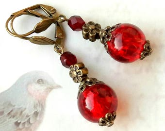 Red earrings, Leverback style retro red garnet
