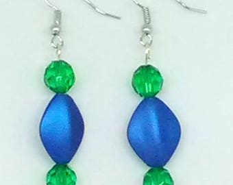Blue Faceted Diamond with Green Faceted Round Beaded Earrings