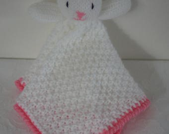 So lovely hand knitted bunny lovey/security blanket by Liz