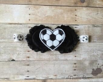 Baby Soccer Headband - Toddler Soccer Headband - Baby Football Headband - Soccer Ball Headband - Shabby Floral Soccer Headband
