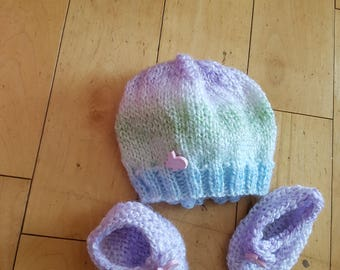 Baby Knit Hat and Booties Set