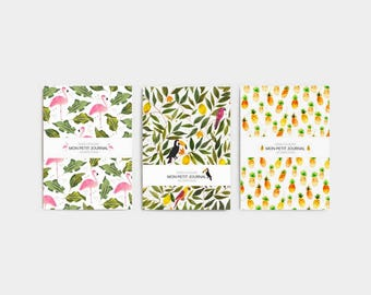 Set of 3 notebooks, journal, diary, notes, pineapple, stationery, set of 3 notebooks, exotic pattern, flamingo notebook, christmas gift