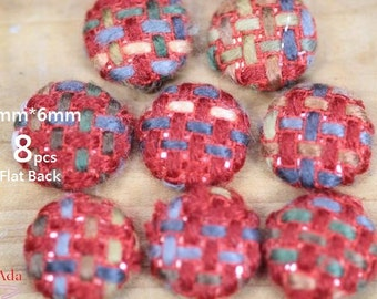 F8E517-20x6mm Fabric Covered Buttons- Flat Back- Vintage Boucle Fabric- Red  Neutral Color -8 pcs-