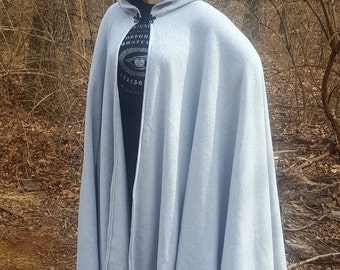 Light Grey Long Cloak - Full Circle Fleece Medieval Renaissance Hooded Cloak - Costume Cape with hood