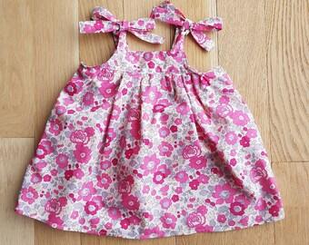 Liberty Betsy bougainvillea baby dress