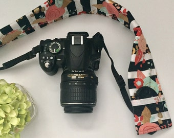 Black and White Stripe with Coral and Mint Floral Camera Strap Cover, Floral Camera Strap Cover, Black and White Camera Strap, Gift for Her