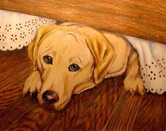 Pet Portrait Drawing, Yellow Labrador Retriever or any Breed, in Colored Pencil, Yellow Lab Art, Dog under Eyelet Bedskirt,