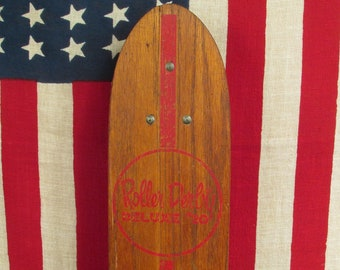"Vintage 1960s Roller Derby Wood Skateboard Deluxe #20 Clay Wheels Surfer 22.5"""