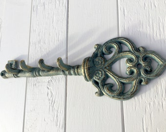 Decorative Key Rack, Green and Gold Cast Iron Key Rack, Entryway Key Hook