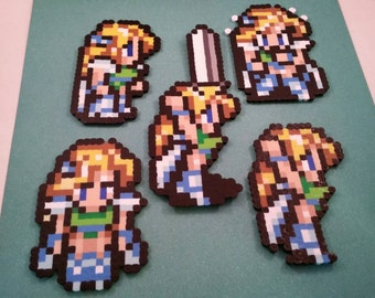 Final Fantasy VI/Final Fantasy III (US) perler bead sprite Celes choose from 1 of 5 stances or get all 5, plain or magnet