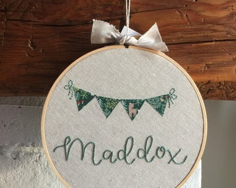personalized hand embroidered hoop art . made to order . custom nursery decor . woodland animals . nature . flag buntings . linen