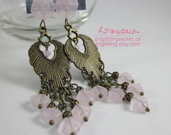 Desert Rose; Textural Bronze Peacock Plume Chandelier Earrings in Soft Pink Glass & Crystal this Elegant Feather Design Dances With Movement