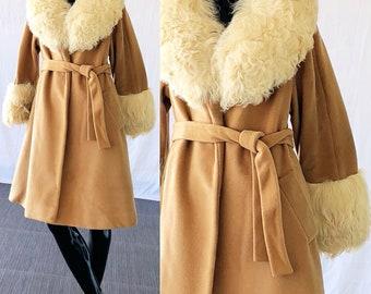 Lilli Ann Coat Mongolian Lamb Fur Coat Camel Belted Swing Coat