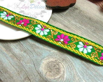 1 x meter pretty stripe woven Ribbon embroidered ethnic flower green background