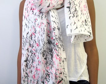 Birds Printed Silk Scarf / with neon Pink