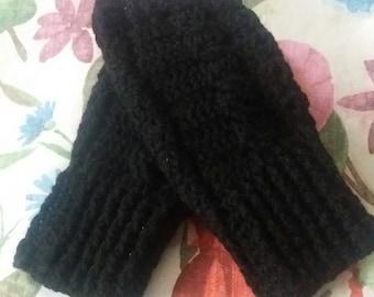 Black Crochet Fingerless  Gloves,  Ladies  Gloves,Wrist  warmer