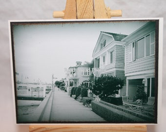 ACEO, ATC, Artist Trading Card, Balboa Island, black and white photography