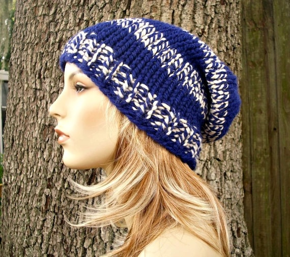 Knit Hat Womens Hat Mens Hat Slouchy Hat - Slouchy Beanie Hat in Royal Blue and White Knit Hat Blue Hat Womens Accessories